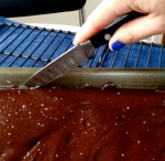 Pour the chocolate caramel goodness into a baking sheet and let cool for three hours or over night...